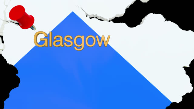 Map of Scotland with alpha channel and 3D map pin highlighting the location of Glasgow
