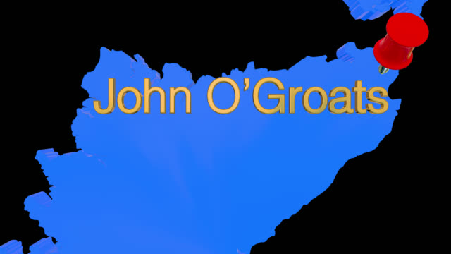 Karte von Schottland mit alpha-Kanal und 3D-Karte Pin markieren den Standort von John O'Groats