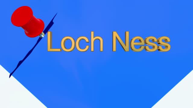 Map of Scotland with alpha channel and 3D map pin highlighting the location of Loch Ness
