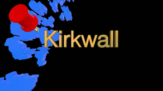 Map of Scotland with alpha channel and 3D map pin highlighting the location of Kirkwall