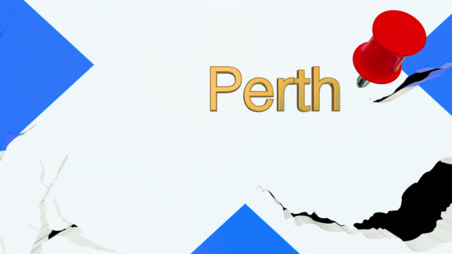 Map of Scotland with alpha channel and 3D map pin highlighting the location of Perth