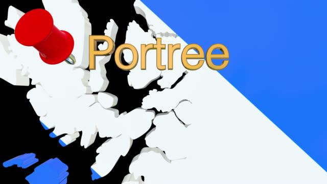 Karte von Schottland mit alpha-Kanal und 3D-Karte Pin markieren den Standort von Portree