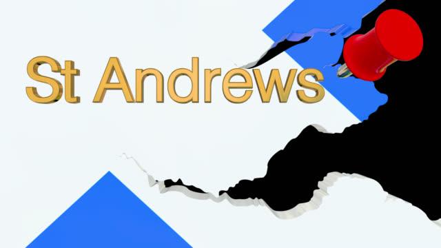 Karte von Schottland mit alpha-Kanal und 3D-Karte Pin markieren die Lage der St Andrews