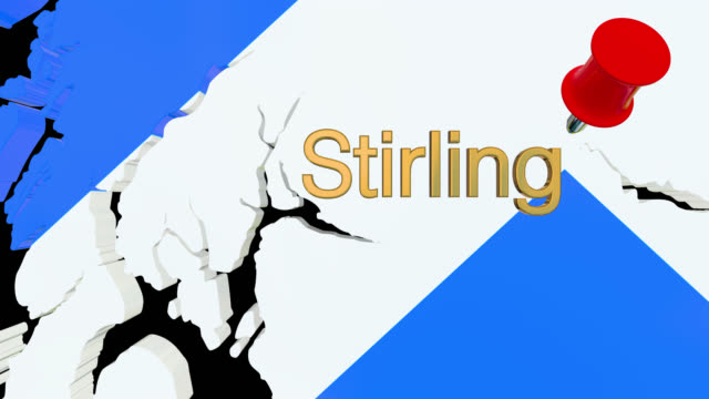 Map of Scotland with alpha channel and 3D map pin highlighting the location of Stirling