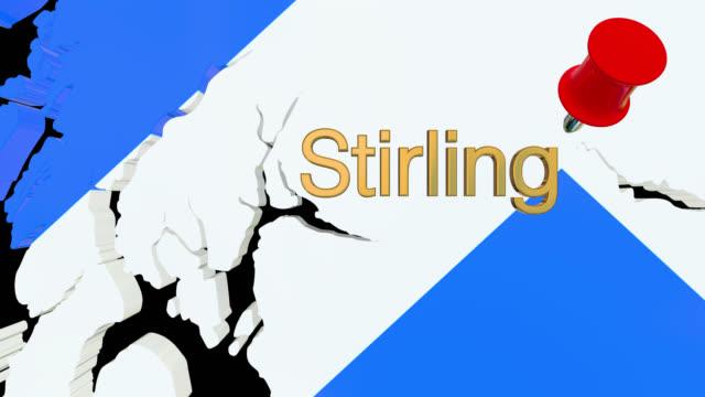 Karte von Schottland mit alpha-Kanal und 3D-Karte Pin markieren die Lage der Stirling