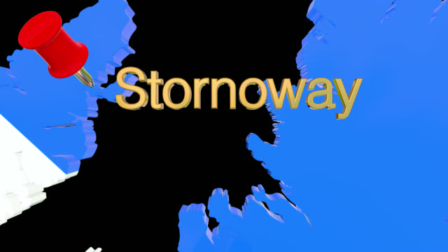 Map of Scotland with alpha channel and 3D map pin highlighting the location of Stornoway