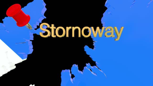 Karte von Schottland mit alpha-Kanal und 3D-Karte Pin markieren den Standort von Stornoway