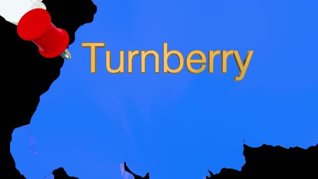 Karte von Schottland mit alpha-Kanal und 3D-Karte Pin markieren den Standort von Turnberry