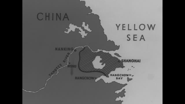 map of section of nanking around yangtze river where the uss panay was hit by japanese bombers / uss panay / pan other boats in yangtze river /... - sailor stock videos & royalty-free footage