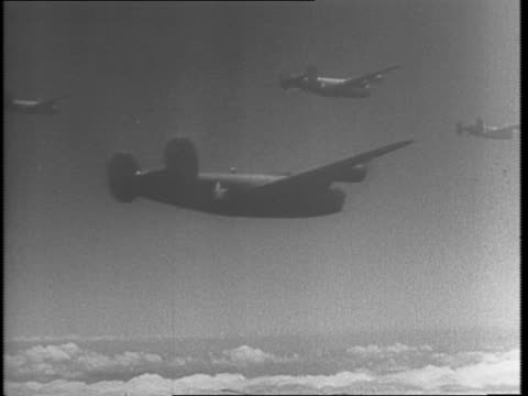 map of sicily / consolidated b-24 liberator bombers take off and in air / pilot with mask on / aerial footage of dropping bombs / pilot at controls /... - 1943 stock-videos und b-roll-filmmaterial