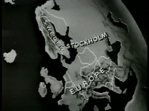 stockvideo's en b-roll-footage met map map of sweden animated air lines out of stockholm to europe - 1949