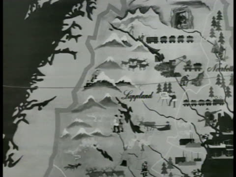 stockvideo's en b-roll-footage met map map of sweden animated snowcap mountains winter conditions - 1949