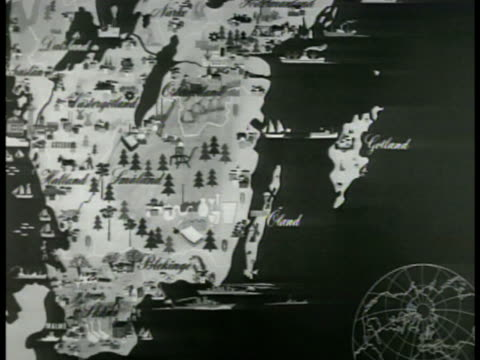 map map of sweden coastline along baltic sea - 1949 stock videos & royalty-free footage