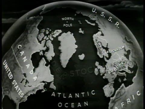 stockvideo's en b-roll-footage met map map of sweden map of northern hemisphere highlighting russia canada usa - 1949