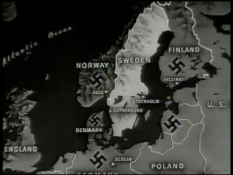map map of sweden w/ nazi swastikas on surrounding countries norway finland denmark latvia occupied territory - 1944 stock-videos und b-roll-filmmaterial