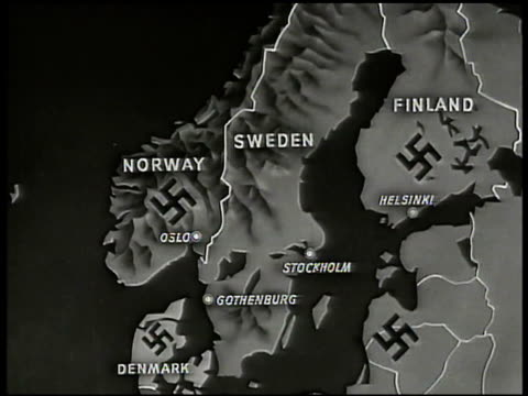 stockvideo's en b-roll-footage met map map of sweden w/ nazi swastikas on surrounding countries norway finland denmark latvia occupied territory denmark highlighted - reportage afbeelding
