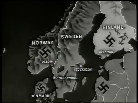 stockvideo's en b-roll-footage met map map of sweden w/ nazi swastikas on surrounding countries norway finland denmark latvia occupied territory finland highlighted - reportage afbeelding