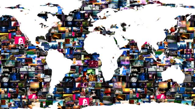 vidéos et rushes de carte du monde mur d'images vidéo - montage