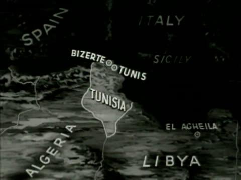 Map of Tunisia, highlighting \'Bizerte, Tunis\' cities. Stock Footage ...