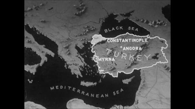 MAP Map of Turkey highlighting Mustafa Kemal's treaty to keep Turkey intact leaving Dardanelles strait open to all