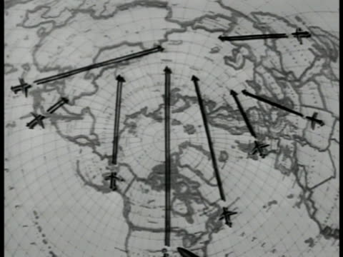 vidéos et rushes de map of us air force bases around northern hemisphere of globe arrows pen pointing - hémisphère nord