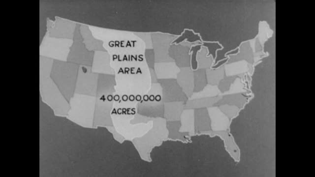 map of us showing the reach of the dust bowl across the great plains region / caption states '40000 acres destroyed' / another caption reads '200000... - 1937 stock videos and b-roll footage