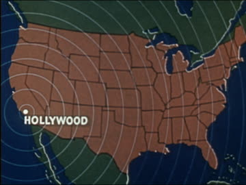 vidéos et rushes de 1941 animation map of u.s. with concentric radio waves emitting from hollywood - 1941