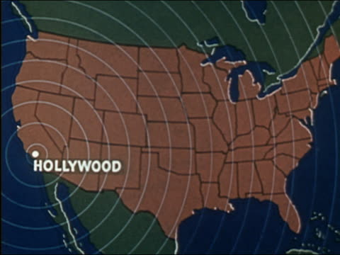 stockvideo's en b-roll-footage met 1941 animation map of u.s. with concentric radio waves emitting from hollywood - hollywood california