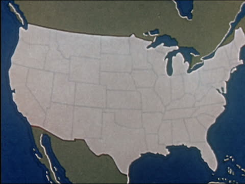 "vídeos y material grabado en eventos de stock de ""1941 animation map of u.s. / ""your town"" superimposed on map"" - mapa"