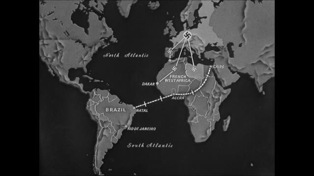 vídeos de stock e filmes b-roll de map map of world showing brazil's strategic position air routes wwii - 1944