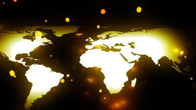 vídeos de stock, filmes e b-roll de mapa do mundo com brilhante pontos - cartografia