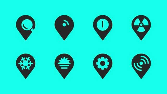 map pin pointer icons - vector animate - map pin icon stock videos and b-roll footage