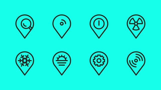 map pin pointer line icons - vector animate - direction stock videos & royalty-free footage