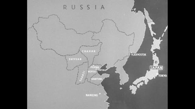 map showing china and japan / map of the far east and russia, with vo explanation and graphics showing the progression of japan into manchuria ; the... - china east asia stock videos & royalty-free footage
