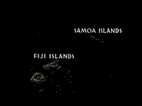 vídeos de stock e filmes b-roll de map showing location of samoa and fiji islands / fiji village with thatched roof huts among palm trees / men sitting cross legged in group on ground... - cross legged
