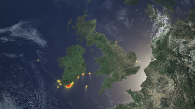 map showing sightings of fin whales around around uk coast - fin whale stock videos & royalty-free footage