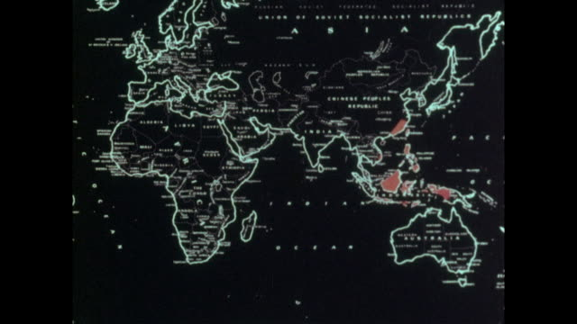 vídeos y material grabado en eventos de stock de map showing the spread of a cholera pandemic - 1961 - 1975 - animación biomédica