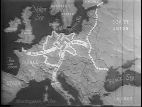 map shows a swastika over germany and the directions from which ally forces are attacking berlin / map shows the offensives of ussr armies on eastern... - 1944 stock-videos und b-roll-filmmaterial
