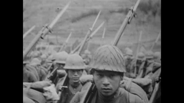 vídeos y material grabado en eventos de stock de map shows location of hiroshima and soldiers crowd the streets and barracks of the town - hiroshima prefecture