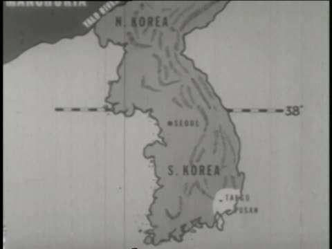 a map shows north and south korea and the 38th parallel; the united nation's ground troops sit on a tank and dig a fox hole. - allied forces stock videos & royalty-free footage