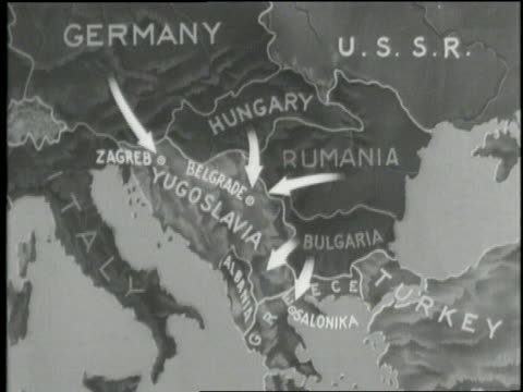 stockvideo's en b-roll-footage met a map shows where germany attacks yugoslavia and greece in 1941 - joegoslavië