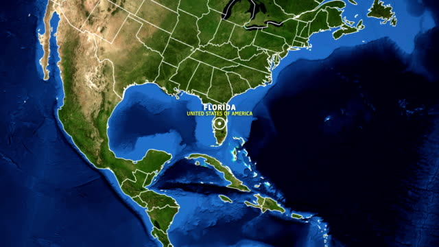 florida map usa - earth zoom - florida usa stock videos and b-roll footage