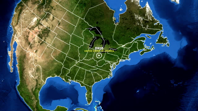 ohio map usa - earth zoom - ohio stock videos & royalty-free footage