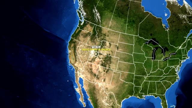 ユタ州マップ米国 - 地球ズーム - ユタ州点の映像素材/bロール