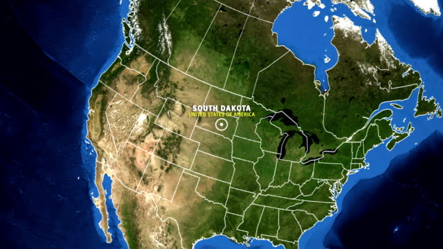 south dakota map usa - earth zoom - south dakota stock videos & royalty-free footage