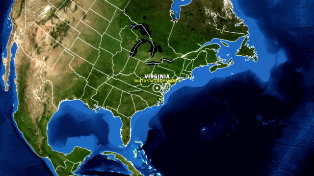 virginia map usa - earth zoom - virginia stato usa video stock e b–roll