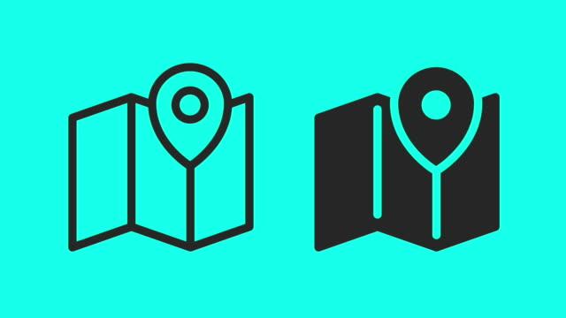 vídeos de stock e filmes b-roll de map - vector animate - map pin icon