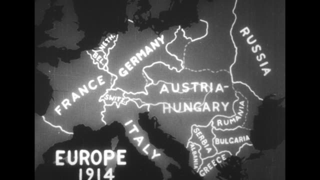 "vídeos y material grabado en eventos de stock de map with animation shows the boundaries of european nations in 1914 and ""today"" / note: exact month/day not known; documentation incomplete - 1910 1919"