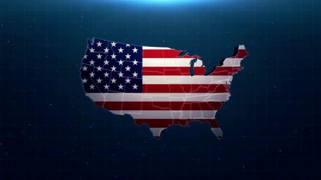 4k usa map with national flag - british culture stock videos & royalty-free footage