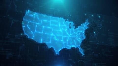 usa karta med stater mot blå animerad bakgrund 4k uhd - kartografi bildbanksvideor och videomaterial från bakom kulisserna
